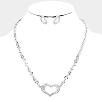 Crystal Rhinestone Pave Cut Out Heart Pendant Necklace