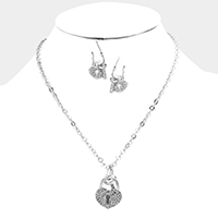 Pave Crystal Rhinestone Heart Key Lock Pendant Necklace