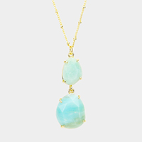 Geo Double Semi Precious Pendant Long Necklace