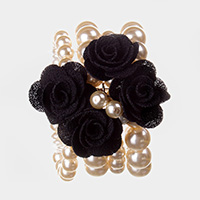 Multi Strand Pearl Fabric Flower Cluster Stretch Bracelet