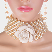 Detachable Flower Pin Brooch Pearl Choker Necklace