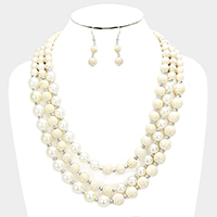 Triple Strand Pearl Howlite Beaded Bib Necklace
