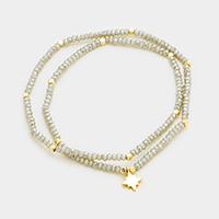 Beaded Metal North Star Charm Stretch Wrap Bracelet