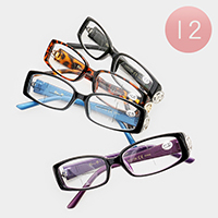 12PCS - Side Detail Rectangle Frame Optical Glasses