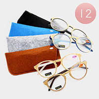 12PCS - Round Frame Reading Glasses and Cases