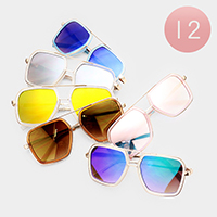 12PCS - Oversized Pentagon Mirrored Lens Sunglasses