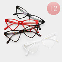 12PCS - Triangle Clear Lens Sunglasses