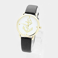 Anchor Printed Round Faux Leather Strap Watch