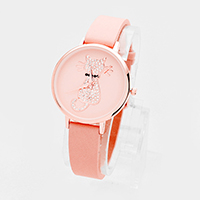Pave Cat Round Faux Leather Strap Watch