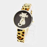 Pave Cat Round Leopard Patterned Faux Leather Strap Watch