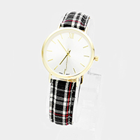 Round Plaid Check Patterned Faux Leather Strap Watch
