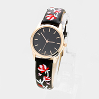 Round Embroidery Flower Faux Leather Strap Watch