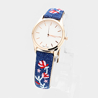 Round Embroidery Flower Denim Faux Leather Strap Watch