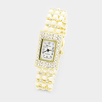 Crystal Pave Rectangle Pearl Stone Band Watch