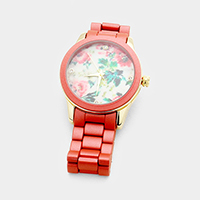 Flower Printed Round Metal Band Watch