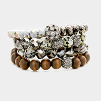4Layers Wood Multi Beaded Shamballa Accented Stretch Bracelet