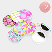 12PCS - Heart Patterned Round Compact Mirrors