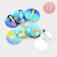 12PCS - Mermaid Print Round Compact Mirrors