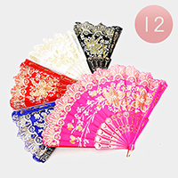 12PCS - Golden Flower Print Folding Fans