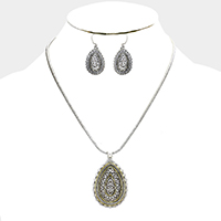 Filigree Teardrop Metal Pendant Necklace