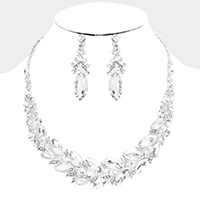 Marquise Glass Crystal Oval Cluster Evening Necklace
