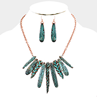 Textured Multi Metal Bar Fringe Necklace