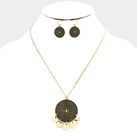 Textured Antique Circle Metal Discs Dangle Pendant Necklace