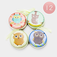 12PCS - Owl Print Round Zipper Coin Purses