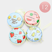 12PCS - Fruits Print Round Zipper Coin Purses