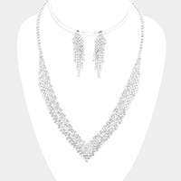 Crystal Rhinestone Pave V Collar Necklace