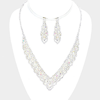 Draped Crystal Rhinestone Pave V Collar Necklace