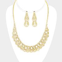 Pearl Draped Crystal Rhinestone Pave Curved Necklace