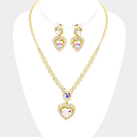 Crystal Rhinestone Pave Heart Pendant Necklace