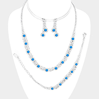 3PCS Floral Crystal Rhinestone Pave Necklace Jewelry Set