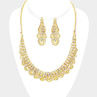 Draped Crystal Rhinestone Pave Necklace