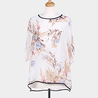 Flower Printed Cover Up Poncho