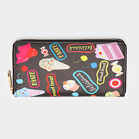 Ice Cream Cake Candy Printed Faux Leather Zipper Wallet