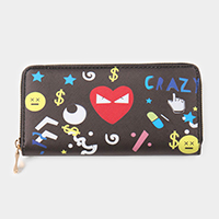 Heart Dollar Emoji Printed Faux Leather Zipper Wallet