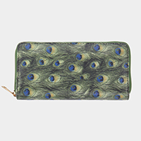 Peacock Feather Pattern Printed Faux Leather Zipper Wallet