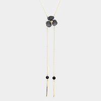 Flower Accented Drop Double Metal Bar Lariat Necklace