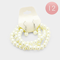 12PCS - 3PCS Faux Pearl Bracelet and Earring Set