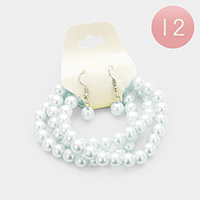 12PCS - 3Layers Faux Pearl Bracelets and Earrings Set