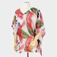 Tropical Leaf Print Poncho
