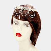 Pearl Floral Rhinestone Pave Draped Head Chain