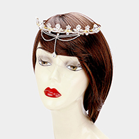 Stone Floral Rhinestone Pave Draped Head Chain