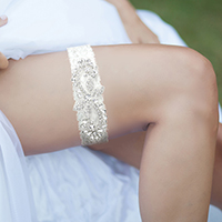 Glass Crystal Pave Flower Lace Stretch Wedding Garter