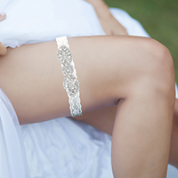 Crystal Pave Bow Lace Stretch Wedding Garter