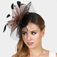 Two Tone Dotted Ruffle Mesh Feather Fascinator / Headband