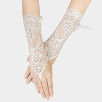 Stone Floral Fishnet Wedding Gloves