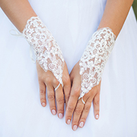 Sequin Floral Lace Up Satin Fingerless Bridal Gloves